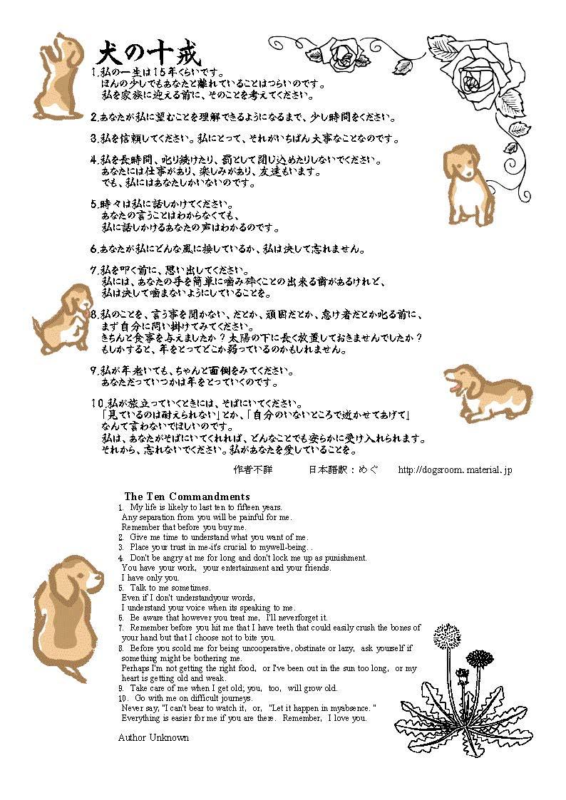 犬の十戒 飼主の心得